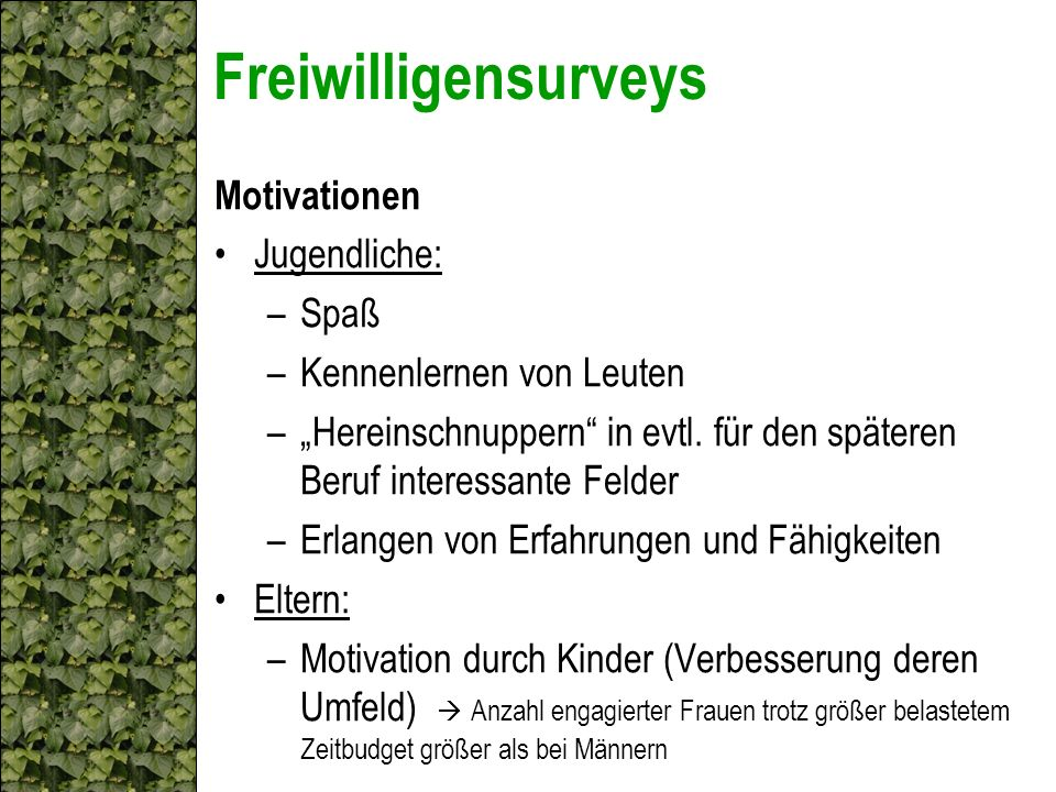 Freiwilligensurveys Motivationen Jugendliche: Spaß