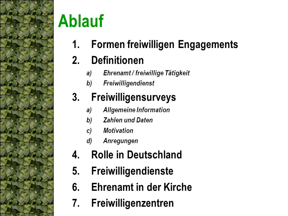 Ablauf Formen freiwilligen Engagements Definitionen