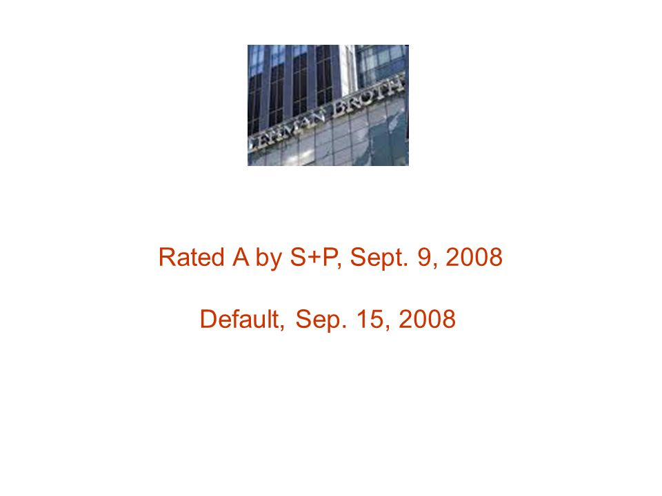 Rated A by S+P, Sept. 9, 2008 Default, Sep. 15, 2008