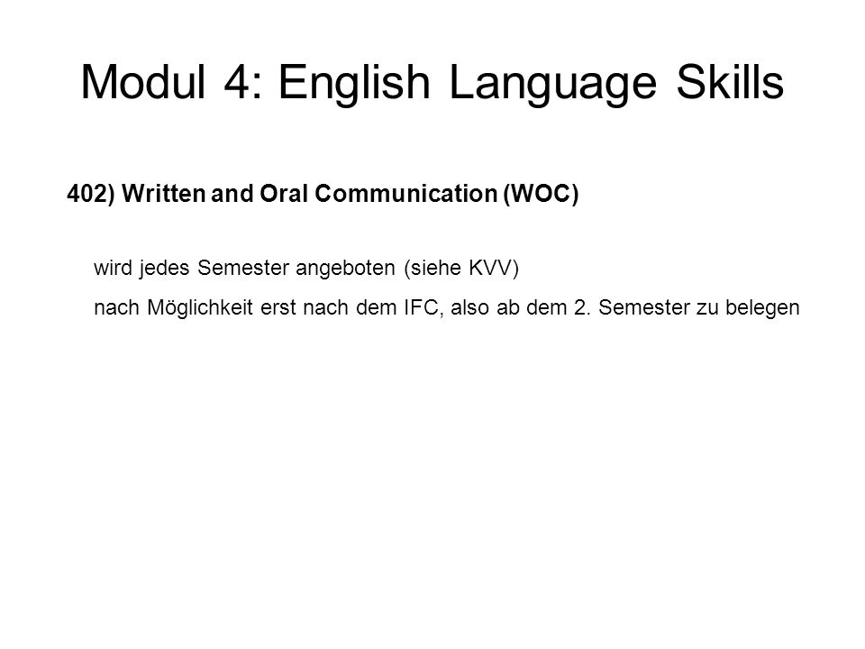 Modul 4: English Language Skills