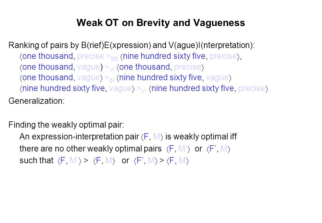 Weak OT on Brevity and Vagueness