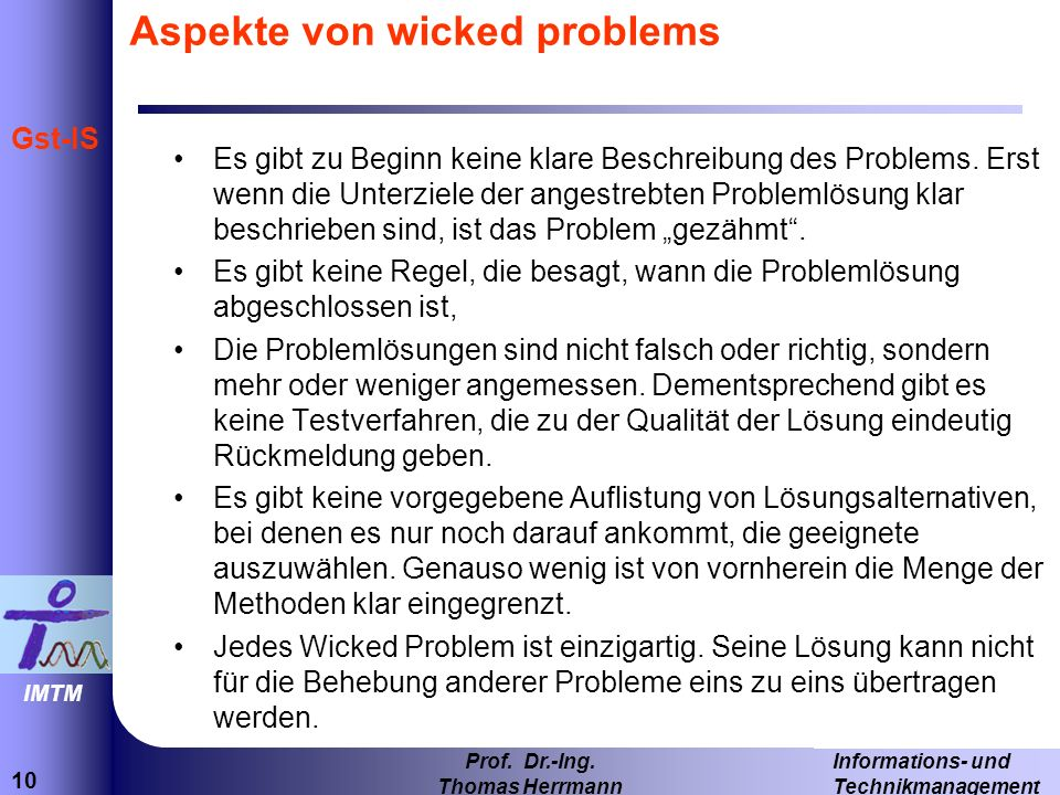 Aspekte von wicked problems