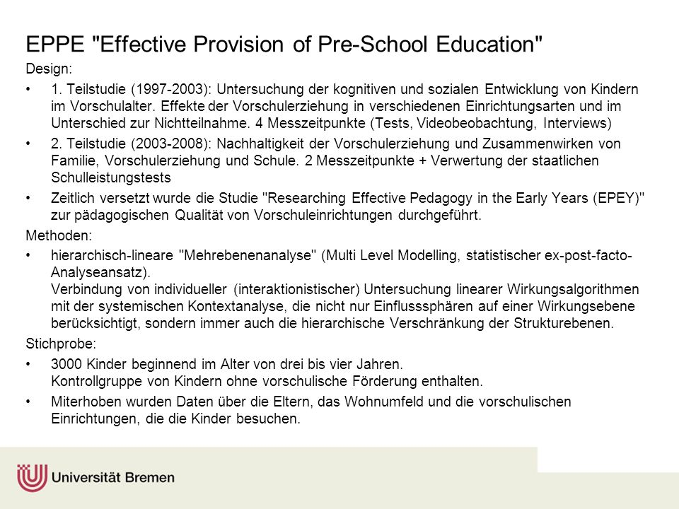 EPPE Effective Provision of Pre-School Education