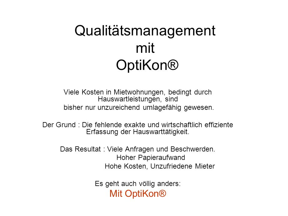 Qualitätsmanagement mit OptiKon®