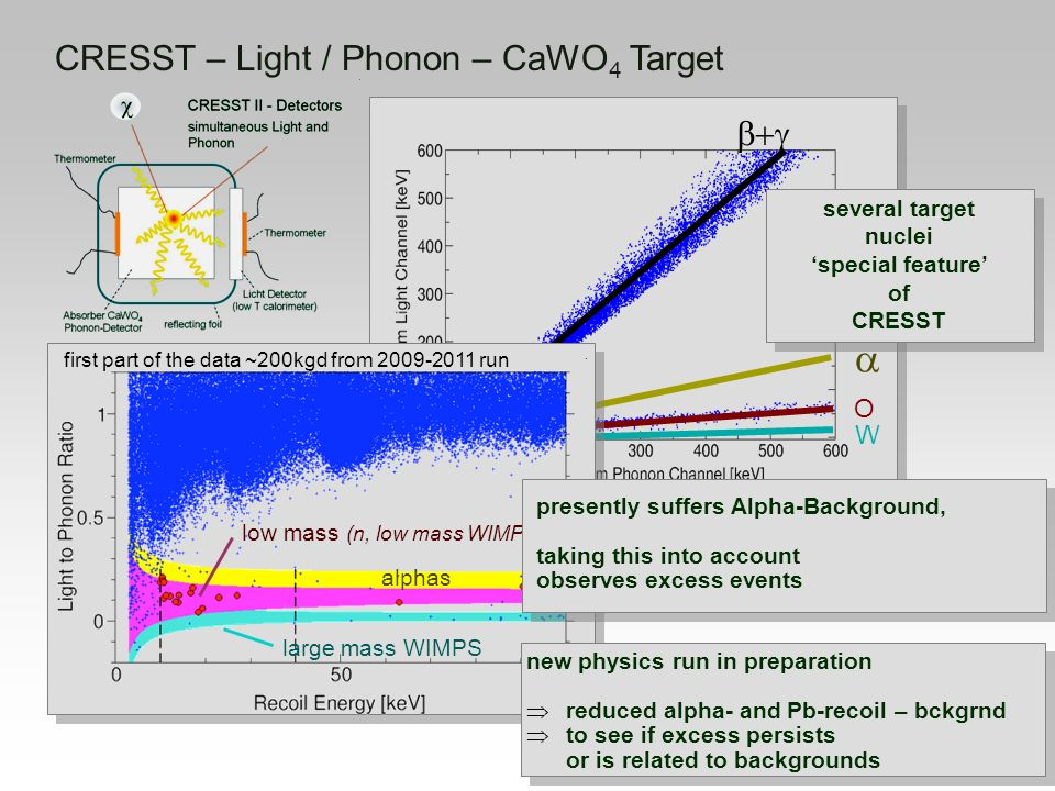 a CRESST – Light / Phonon – CaWO4 Target b+g O W several target nuclei