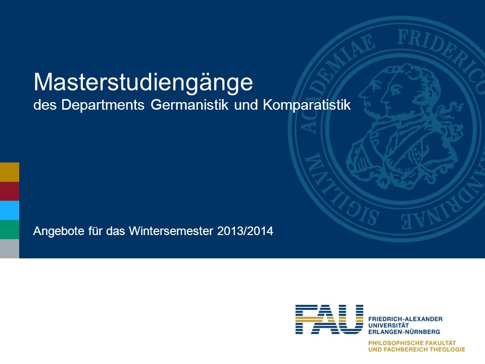Masterstudiengänge des Departments Germanistik und Komparatistik