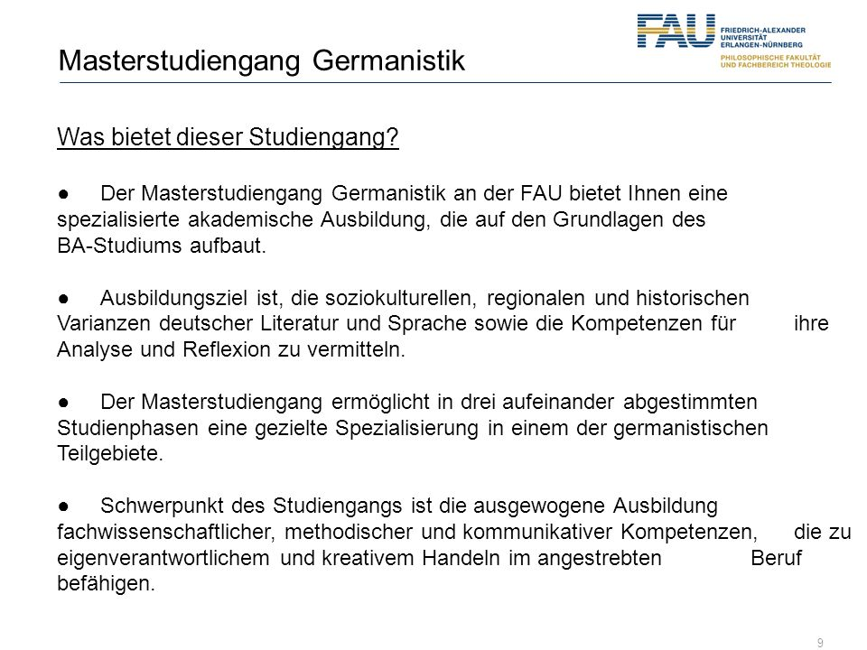 Masterstudiengang Germanistik