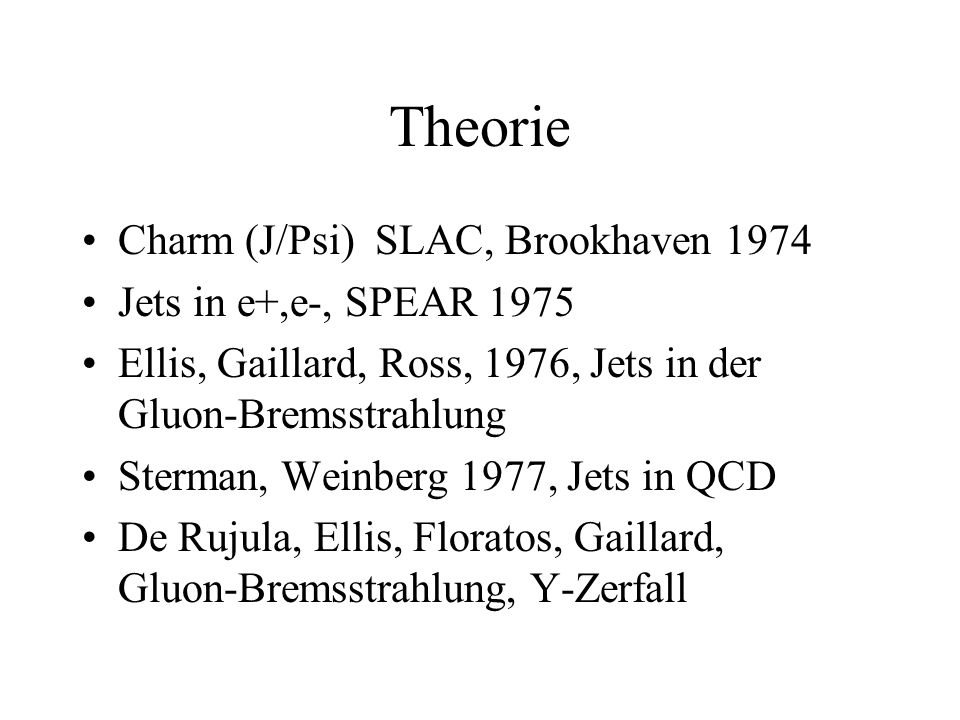 Theorie Charm (J/Psi) SLAC, Brookhaven 1974 Jets in e+,e-, SPEAR 1975