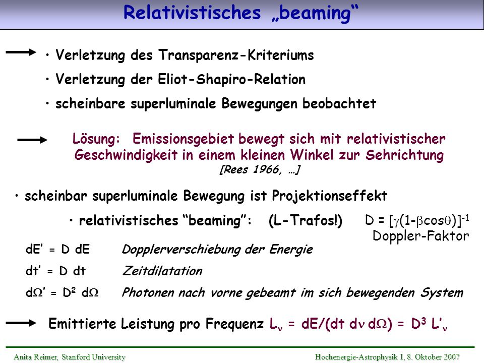 "Relativistisches ""beaming"