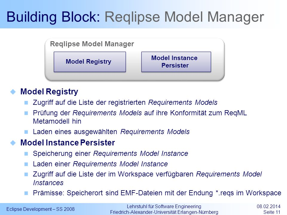 Building Block: Reqlipse Model Manager
