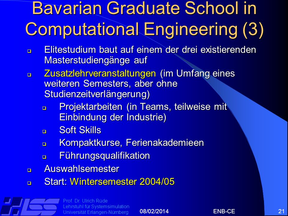 Bavarian Graduate School in Computational Engineering (3)