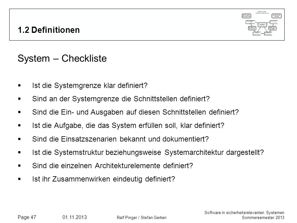 System – Checkliste 1.2 Definitionen