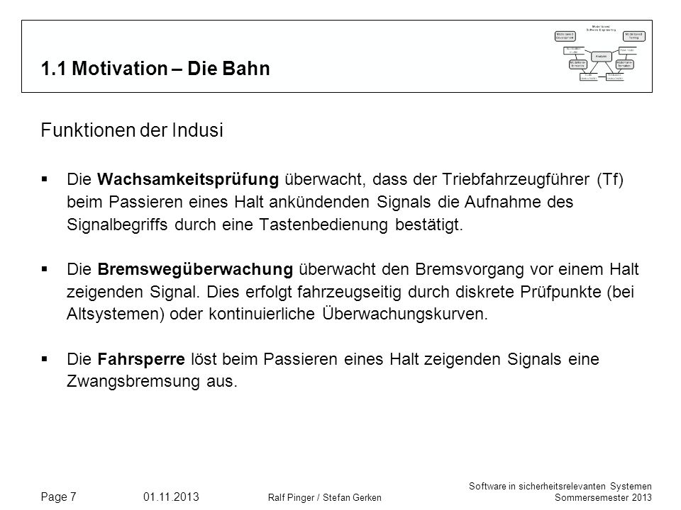 1.1 Motivation – Die Bahn Funktionen der Indusi