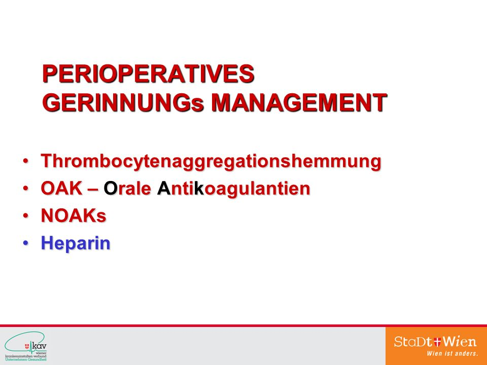 PERIOPERATIVES GERINNUNGs MANAGEMENT