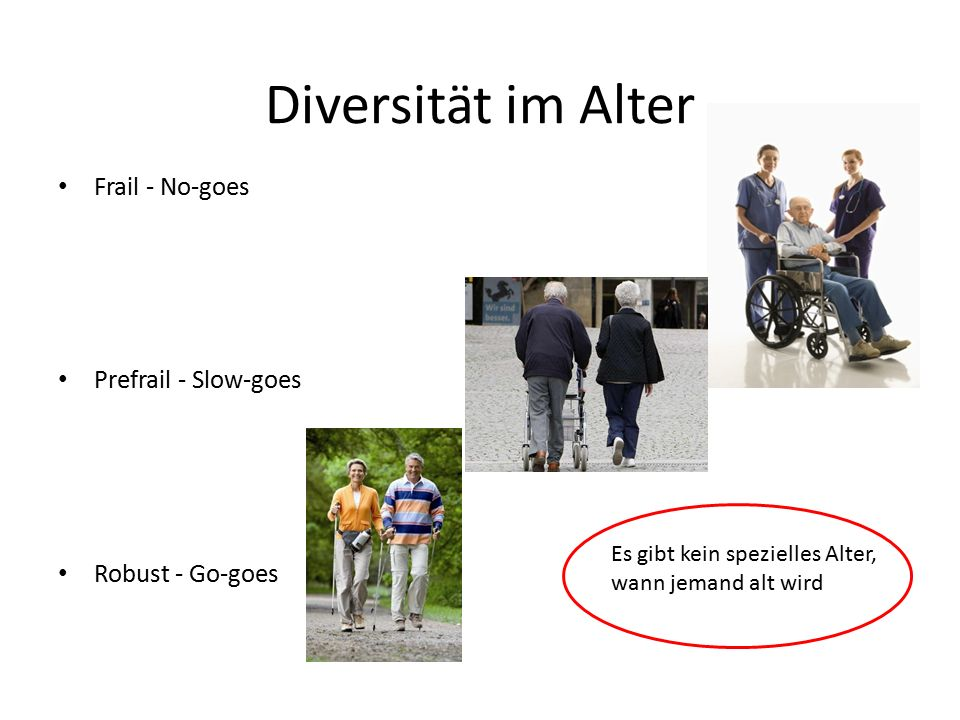 Diversität im Alter Frail - No-goes Prefrail - Slow-goes