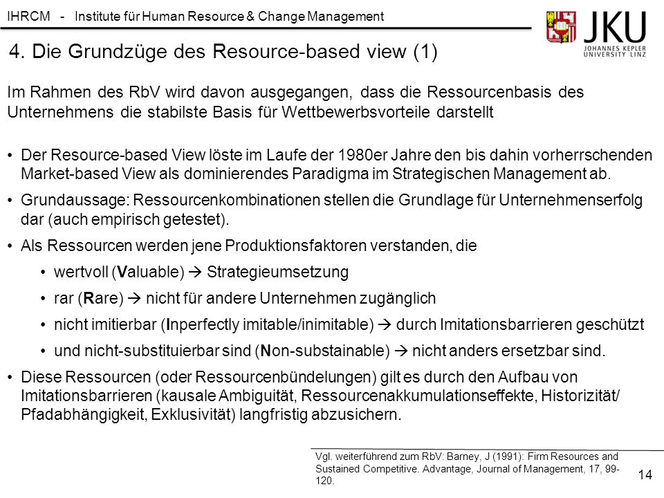 4. Die Grundzüge des Resource-based view (1)