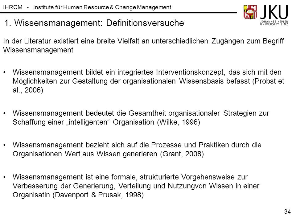 1. Wissensmanagement: Definitionsversuche