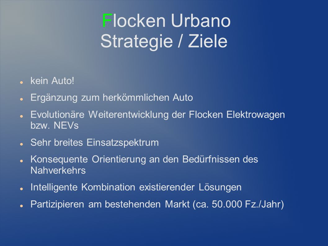Flocken Urbano Strategie / Ziele