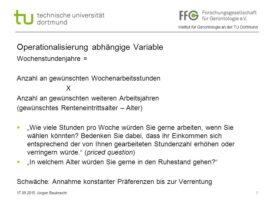 Operationalisierung abhängige Variable