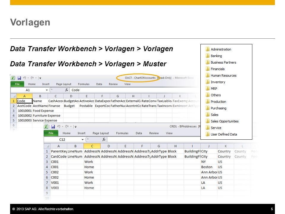 Vorlagen Data Transfer Workbench > Vorlagen > Vorlagen