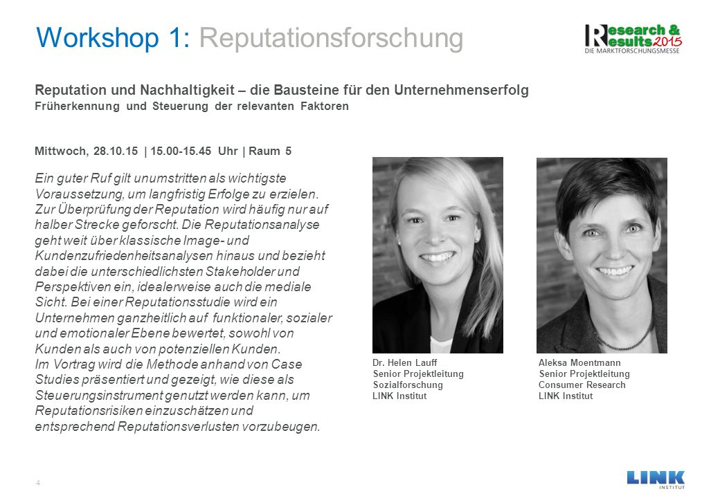 Workshop 1: Reputationsforschung