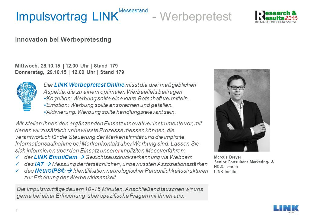 Impulsvortrag LINKMessestand - Werbepretest
