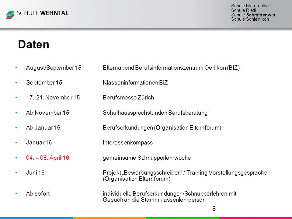 Daten August/September 15 Elternabend Berufsinformationszentrum Oerlikon (BIZ) September 15 Klasseninformationen BiZ.