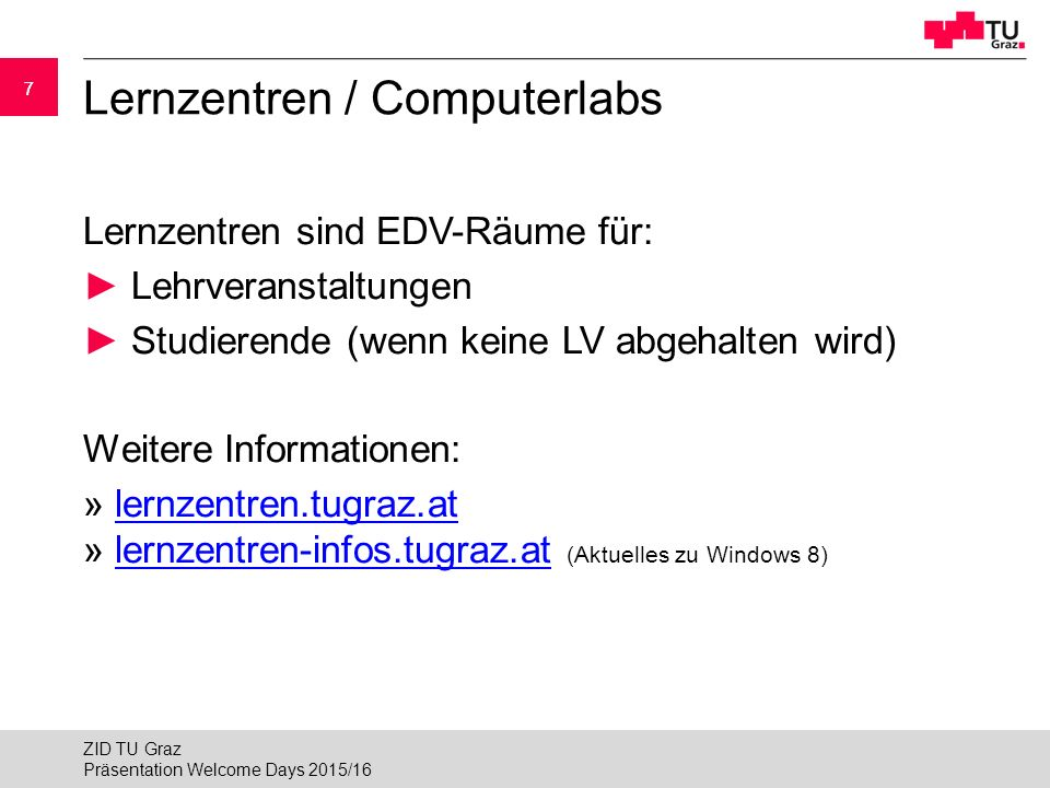 Lernzentren / Computerlabs