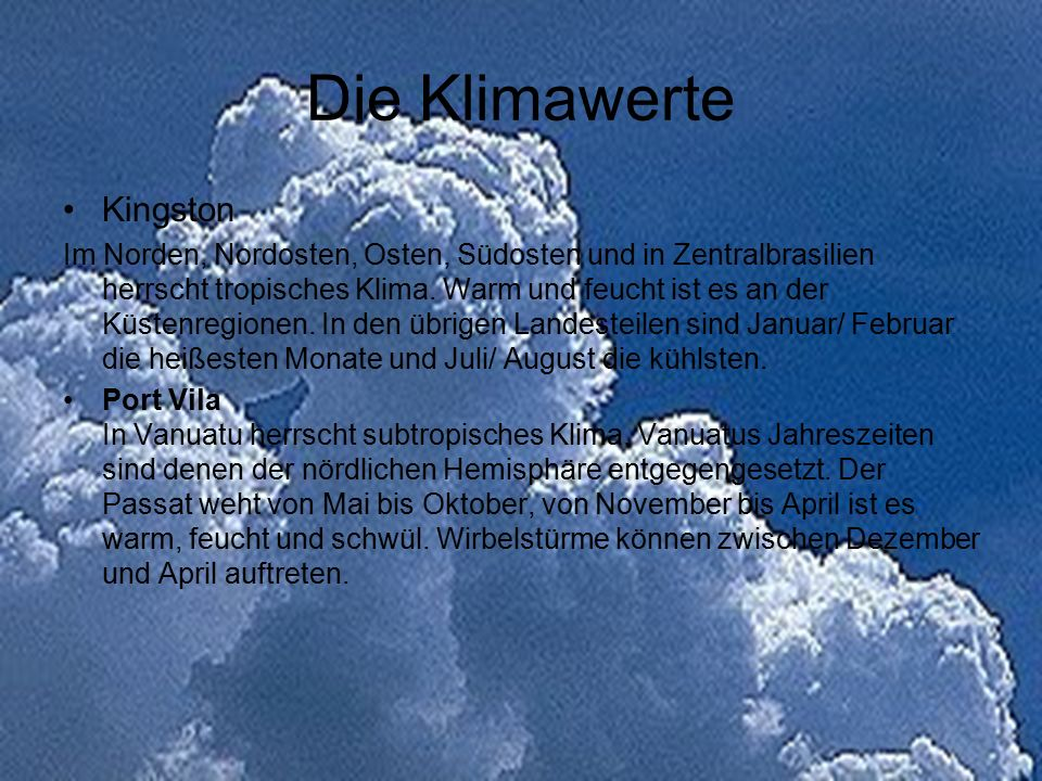 Die Klimawerte Kingston