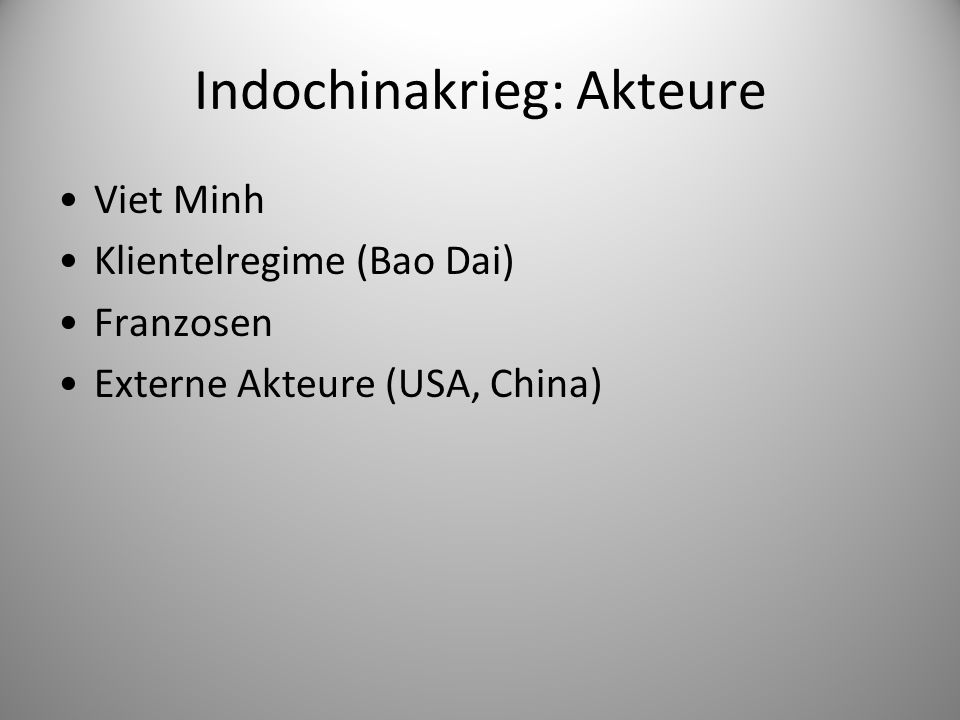 Indochinakrieg: Akteure