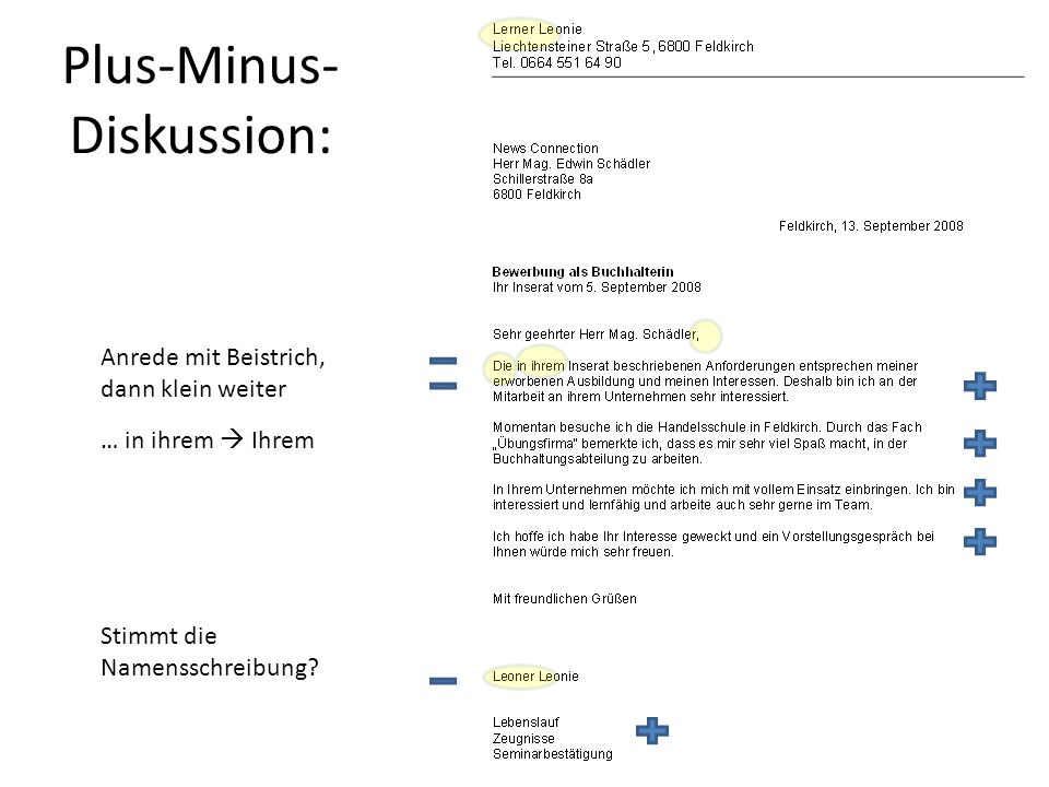 Plus-Minus-Diskussion: