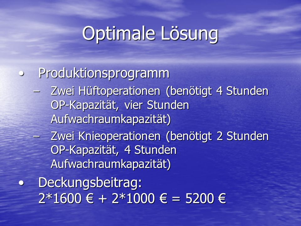Optimale Lösung Produktionsprogramm
