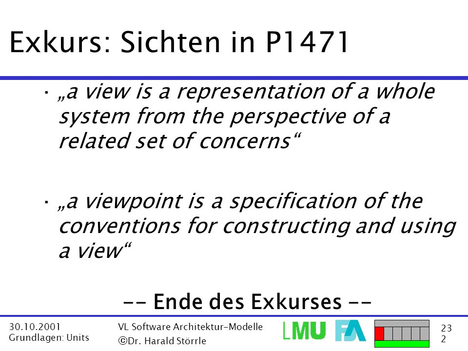 "Exkurs: Sichten in P1471 ""a view is a representation of a whole system from the perspective of a related set of concerns"