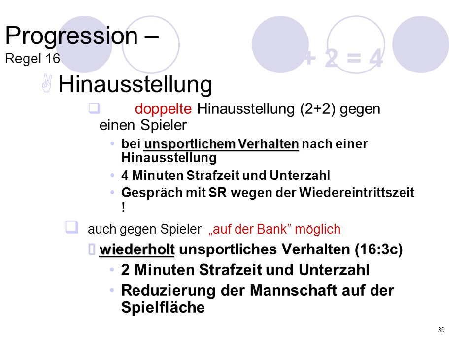 2 + 2 = 4 Progression – Regel 16 Hinausstellung