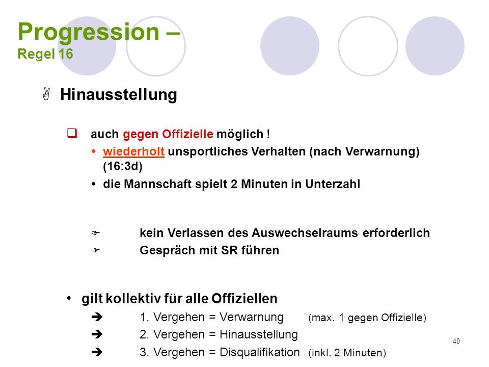 Progression – Hinausstellung Regel 16