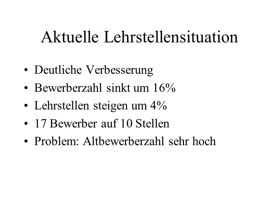Aktuelle Lehrstellensituation