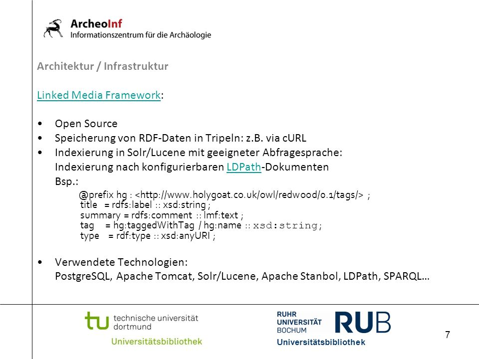 Architektur / Infrastruktur Linked Media Framework: Open Source