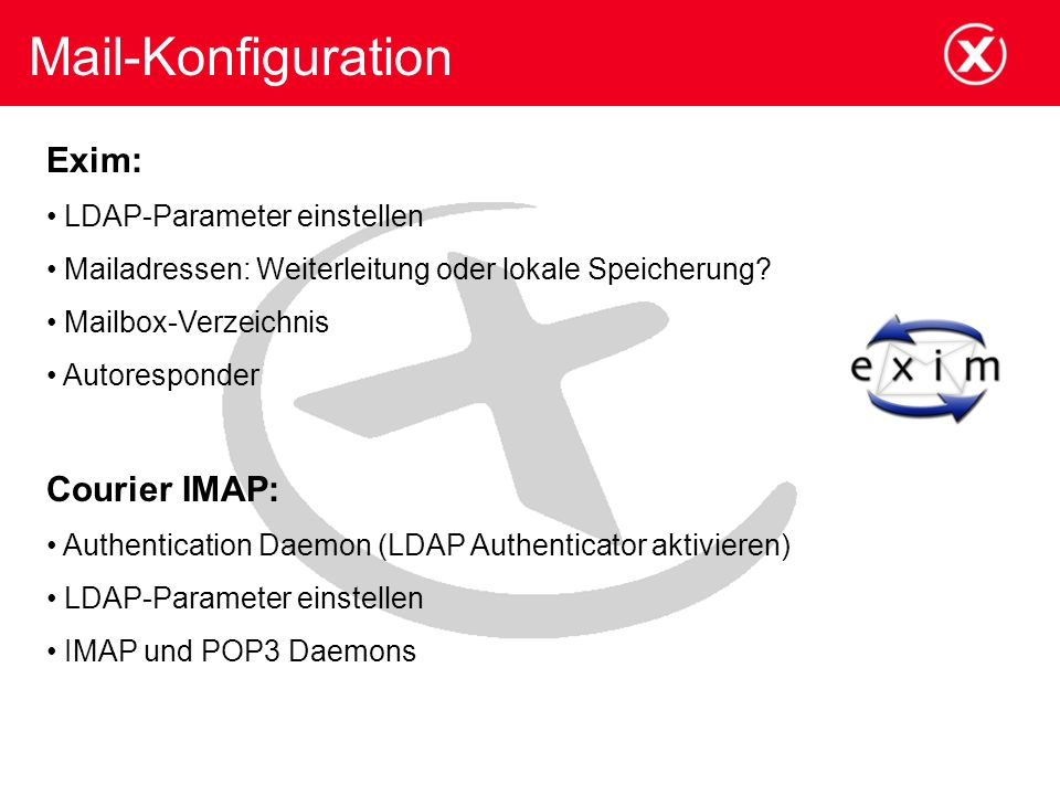 Mail-Konfiguration Exim: Courier IMAP: LDAP-Parameter einstellen