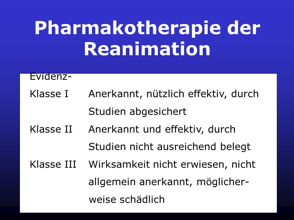 Pharmakotherapie der Reanimation