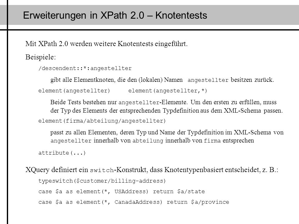 Erweiterungen in XPath 2.0 – Knotentests