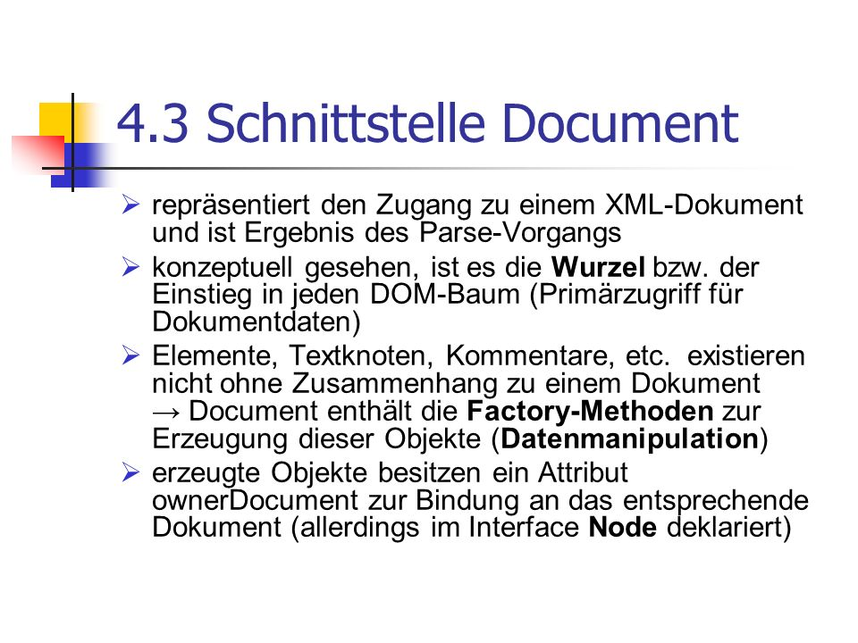 4.3 Schnittstelle Document