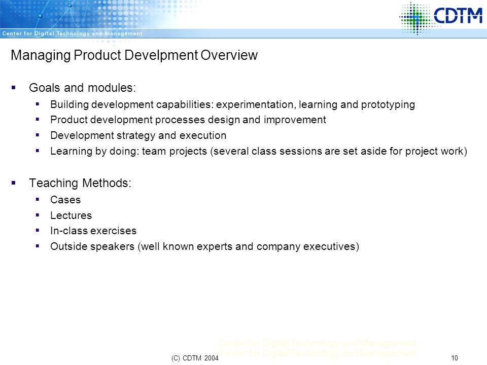 Managing Product Develpment Overview