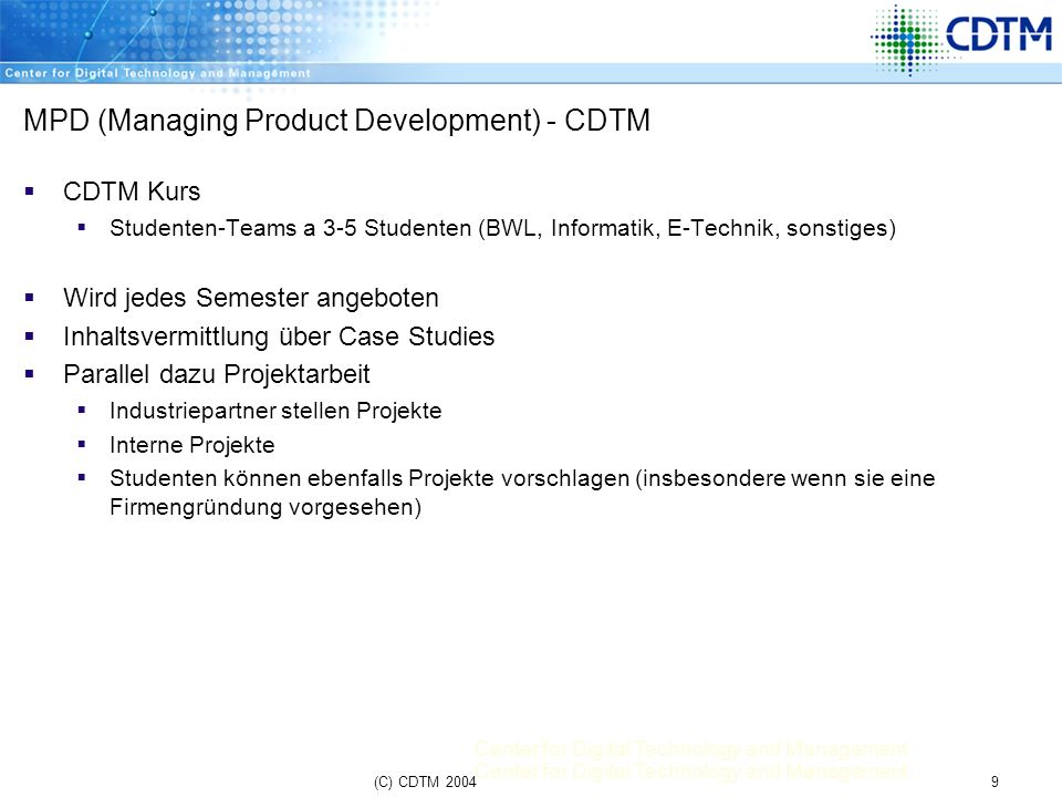 MPD (Managing Product Development) - CDTM