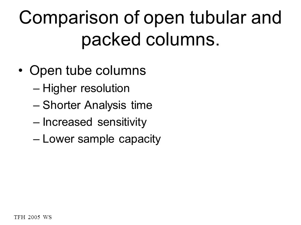 Comparison of open tubular and packed columns.