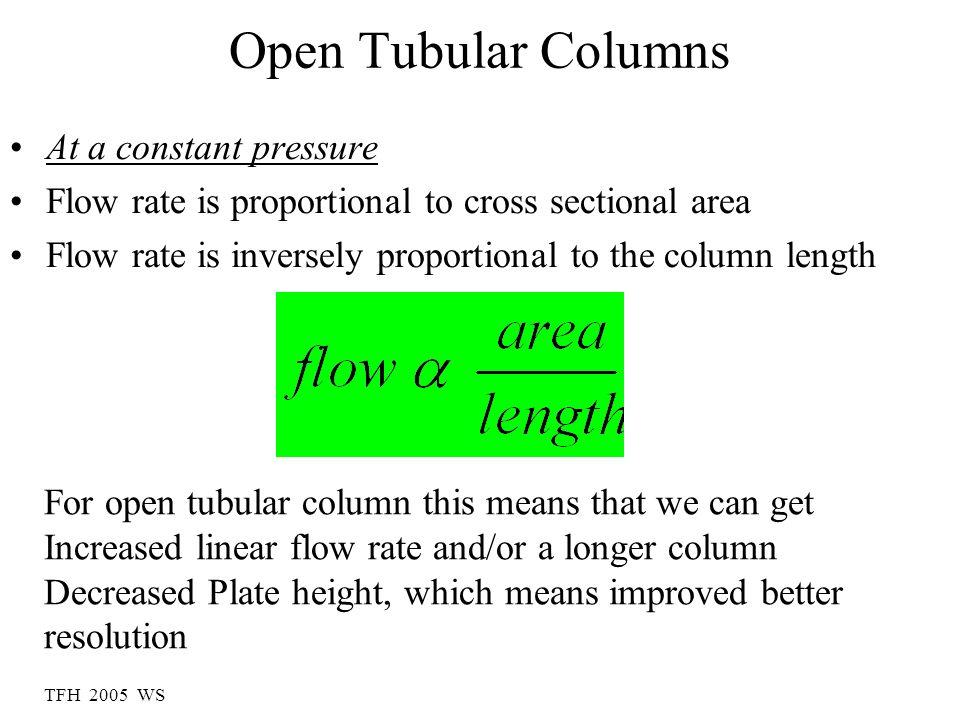 Open Tubular Columns At a constant pressure