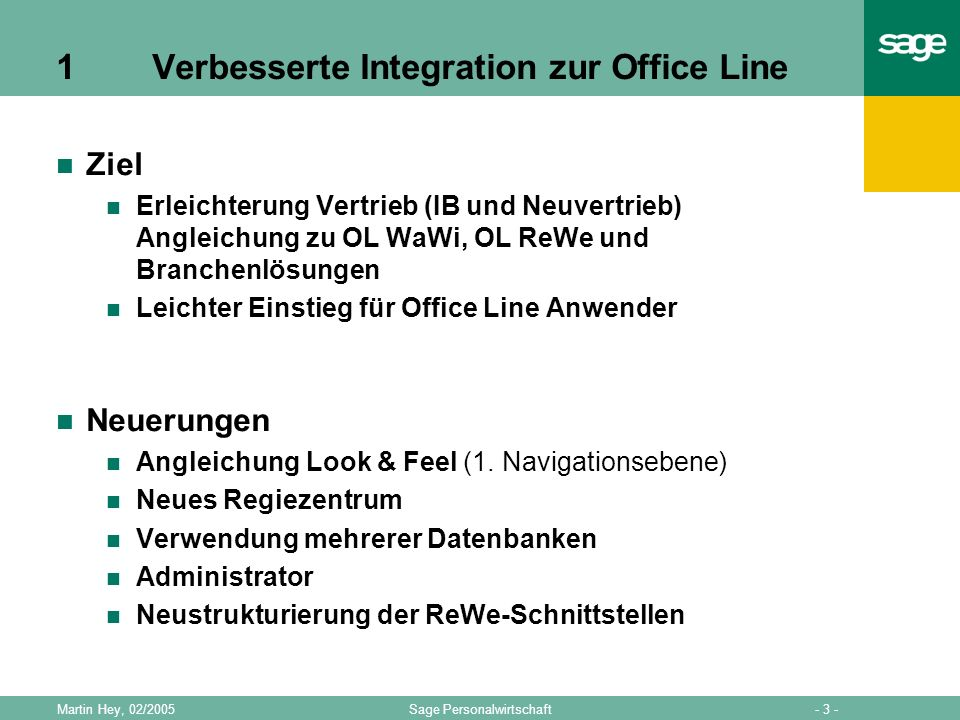 1 Verbesserte Integration zur Office Line