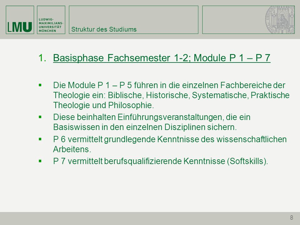 Basisphase Fachsemester 1-2; Module P 1 – P 7