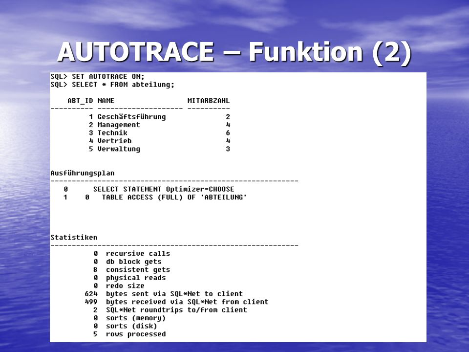 AUTOTRACE – Funktion (2)