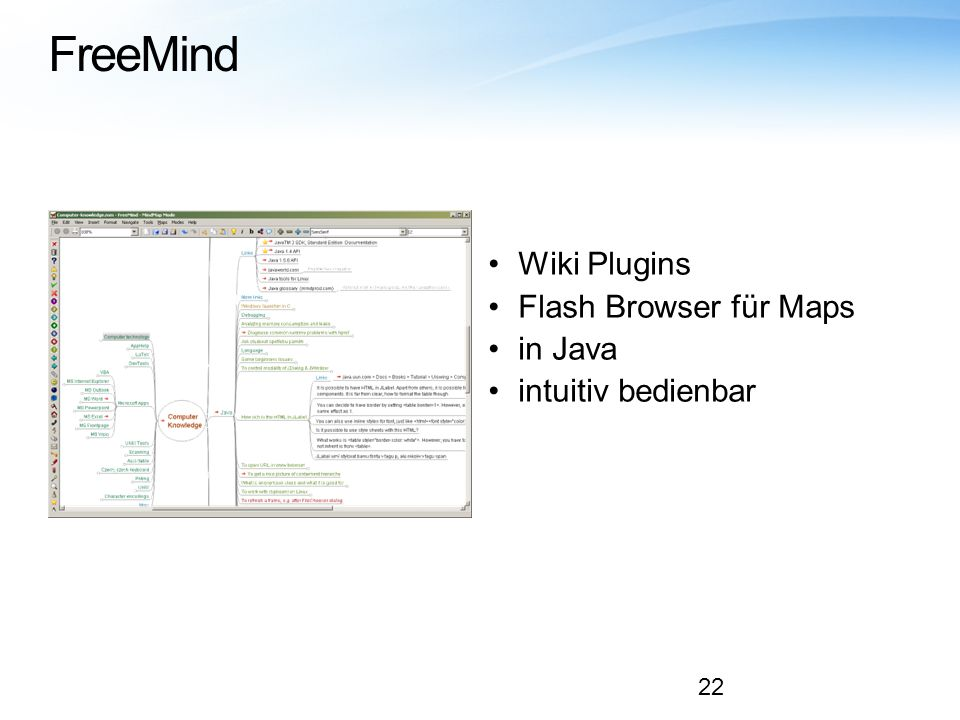 FreeMind Wiki Plugins Flash Browser für Maps in Java