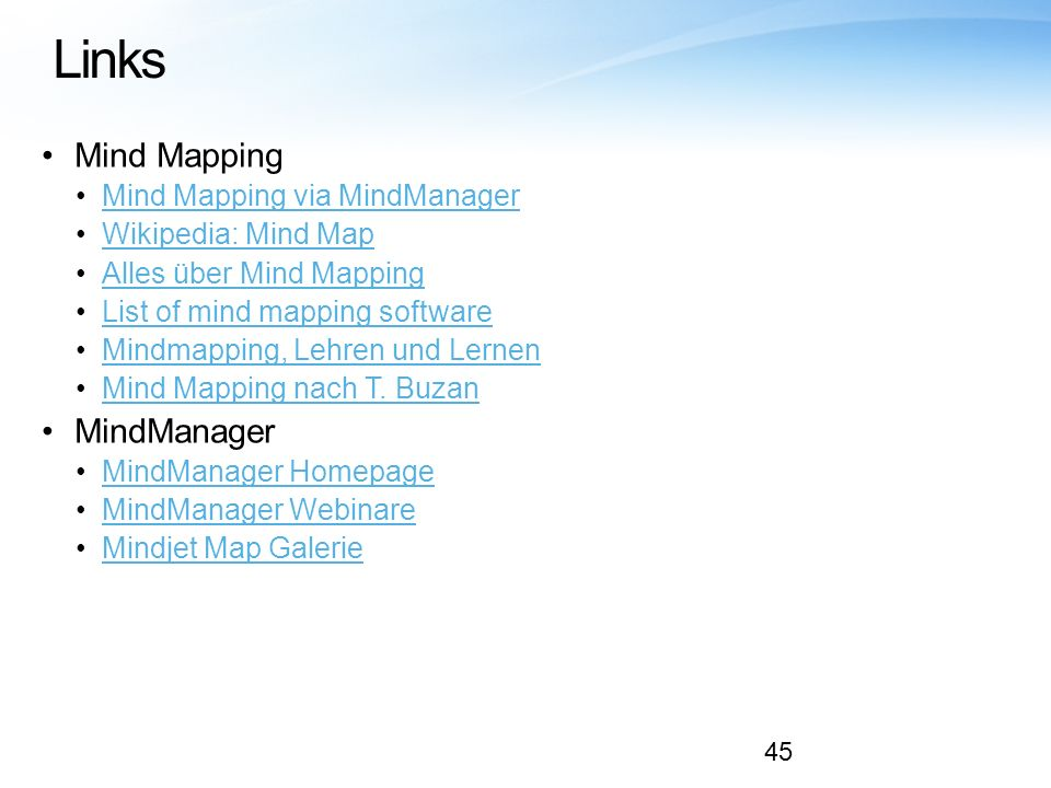 Links Mind Mapping MindManager Mind Mapping via MindManager